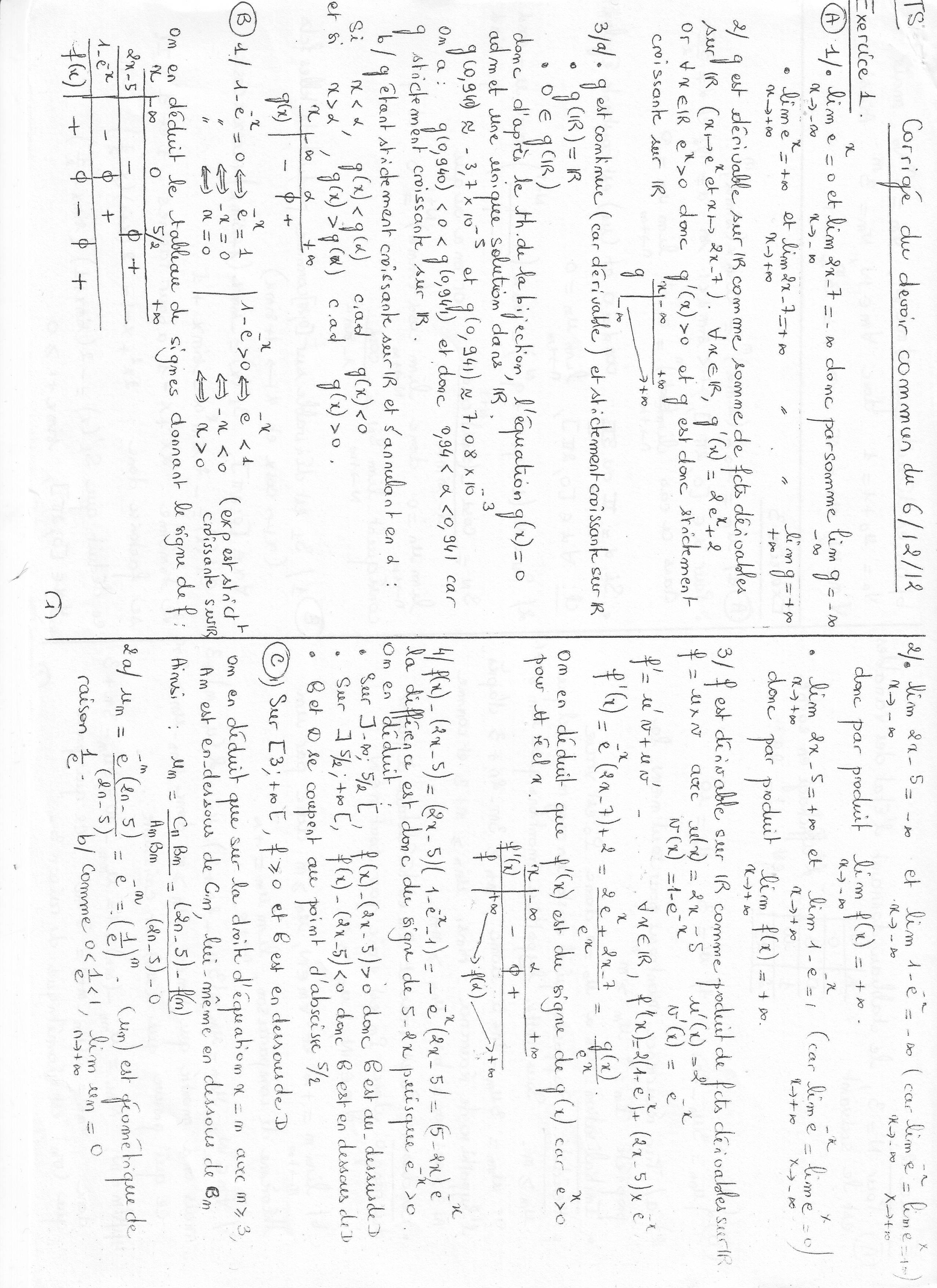 devoir trigonométrie 1s
